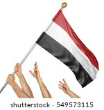 team of peoples hands raising... | Shutterstock . vector #549573115