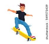 cool skateboarder doing a trick ... | Shutterstock .eps vector #549573439