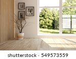 white room with vase and green... | Shutterstock . vector #549573559