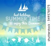 summer time background with sea ... | Shutterstock .eps vector #549578575