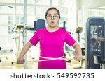 young asian fat woman very... | Shutterstock . vector #549592735