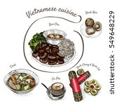 vietnamese menu colorful... | Shutterstock .eps vector #549648229