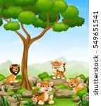 wild animals cartoon in the... | Shutterstock . vector #549651541