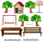 seats and things in garden... | Shutterstock .eps vector #549655351