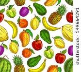 fruit pattern. vector seamless... | Shutterstock .eps vector #549664291