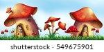 mushroom houses in the garden... | Shutterstock .eps vector #549675901