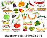 vegetables and ribbons set.... | Shutterstock .eps vector #549676141