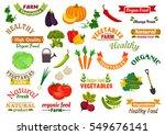 vegetables and ribbons set.... | Shutterstock .eps vector #549676141