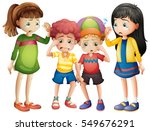 sad kids crying in a group | Shutterstock .eps vector #549676291