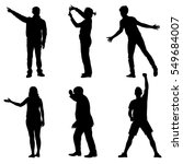black silhouettes of beautiful... | Shutterstock .eps vector #549684007