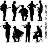 silhouettes street musicians... | Shutterstock .eps vector #549684085