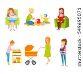 young mother vector characters. | Shutterstock .eps vector #549695071