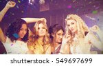pretty girls posing and smiling ... | Shutterstock . vector #549697699