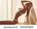 beautiful sexy blond young... | Shutterstock . vector #549699889