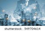 double exposure of success...   Shutterstock . vector #549704614