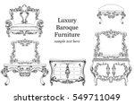 baroque luxury style furniture...   Shutterstock .eps vector #549711049
