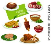 czech cuisine traditional pork... | Shutterstock .eps vector #549711691