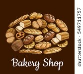 bakery shop emblem in shape of... | Shutterstock .eps vector #549711757