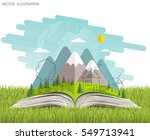 open book of happy family... | Shutterstock .eps vector #549713941