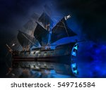 model pirate ship with fog and... | Shutterstock . vector #549716584