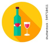 lovely wine circle icon. flat... | Shutterstock .eps vector #549718411