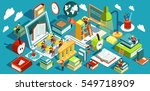 online education isometric flat ... | Shutterstock . vector #549718909