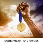 hand holding a silver medal on... | Shutterstock . vector #549726955