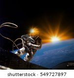 astronaut on space mission with ... | Shutterstock . vector #549727897