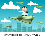 a man is flying on an airplane... | Shutterstock .eps vector #549779269