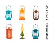 set antique oil lanterns.... | Shutterstock .eps vector #549785734
