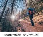 girl hiking up to the france... | Shutterstock . vector #549794821