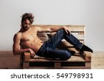 young handsome man or muscular... | Shutterstock . vector #549798931