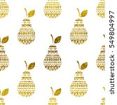 pear seamless pattern. gold... | Shutterstock .eps vector #549804997