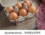 eggs in carton box  | Shutterstock . vector #549814399