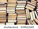 chaotic stack of old books... | Shutterstock . vector #549822685