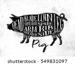 poster pig cutting scheme... | Shutterstock .eps vector #549831097