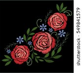 Stock vector red roses embroidery on black background bouquet of flowers 549841579