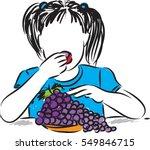 pretty little girl eating... | Shutterstock .eps vector #549846715