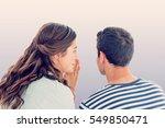 woman whispering secret to... | Shutterstock . vector #549850471