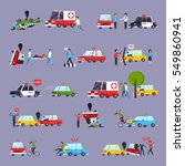 road accident icons set with... | Shutterstock .eps vector #549860941