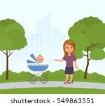 cartoon mom and toddler in pram ... | Shutterstock .eps vector #549863551