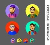 set of flat men icons. hipster... | Shutterstock .eps vector #549863665