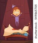 unruly cartoon preschool kid in ... | Shutterstock .eps vector #549865705