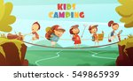 camping kids background with... | Shutterstock .eps vector #549865939