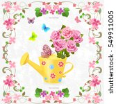 cute can watering with bouquet... | Shutterstock .eps vector #549911005