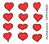 set of hand drawn sketch hearts....   Shutterstock .eps vector #549919804