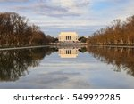 Small photo of Winter view of The Lincoln Memorial, one of the many landmark monuments on the National Mall, a park in downtown Washington, DC administered by the Federal Government Park Service.