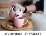 morning hot tea pot   cookies    Shutterstock . vector #549926659