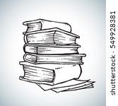 books freehand drawing vector... | Shutterstock .eps vector #549928381