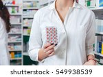 young woman pharmacist with... | Shutterstock . vector #549938539